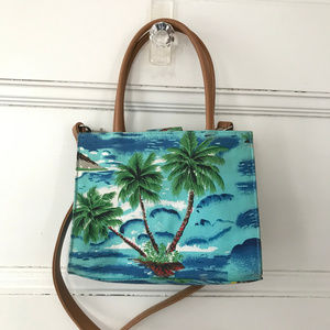 Fossil Relic Blue Green Tropical Print Bag Small